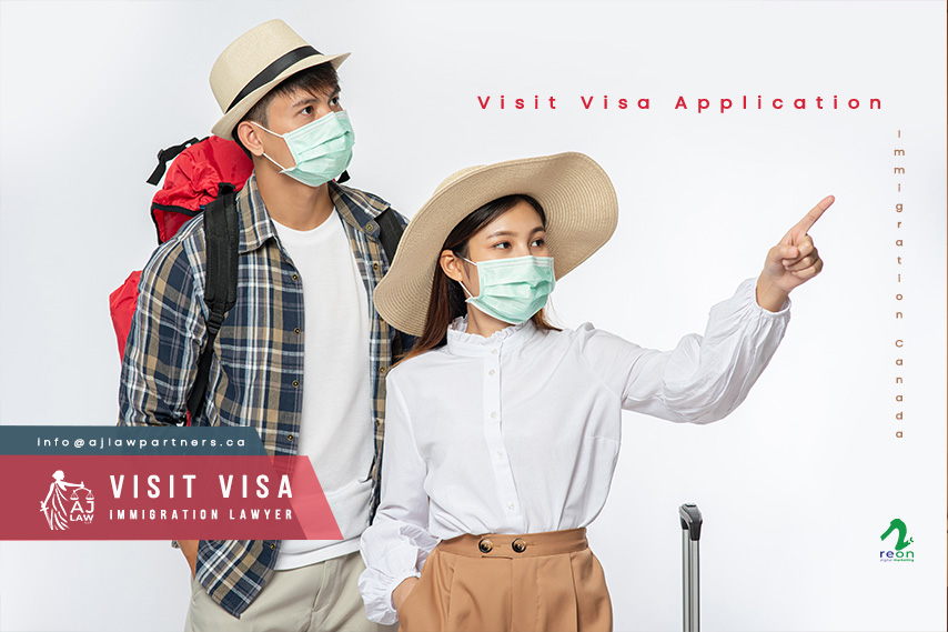 man-woman-dressed-travel-wearing-masks-visit-visa-canada-aj-law-llp