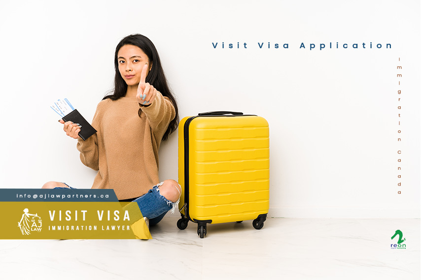 young-chinese-traveler-woman-sittting-floor-with-suitcase-isolated-showing-number-one-with-finger-visit-visa-canada-aj-law-llp